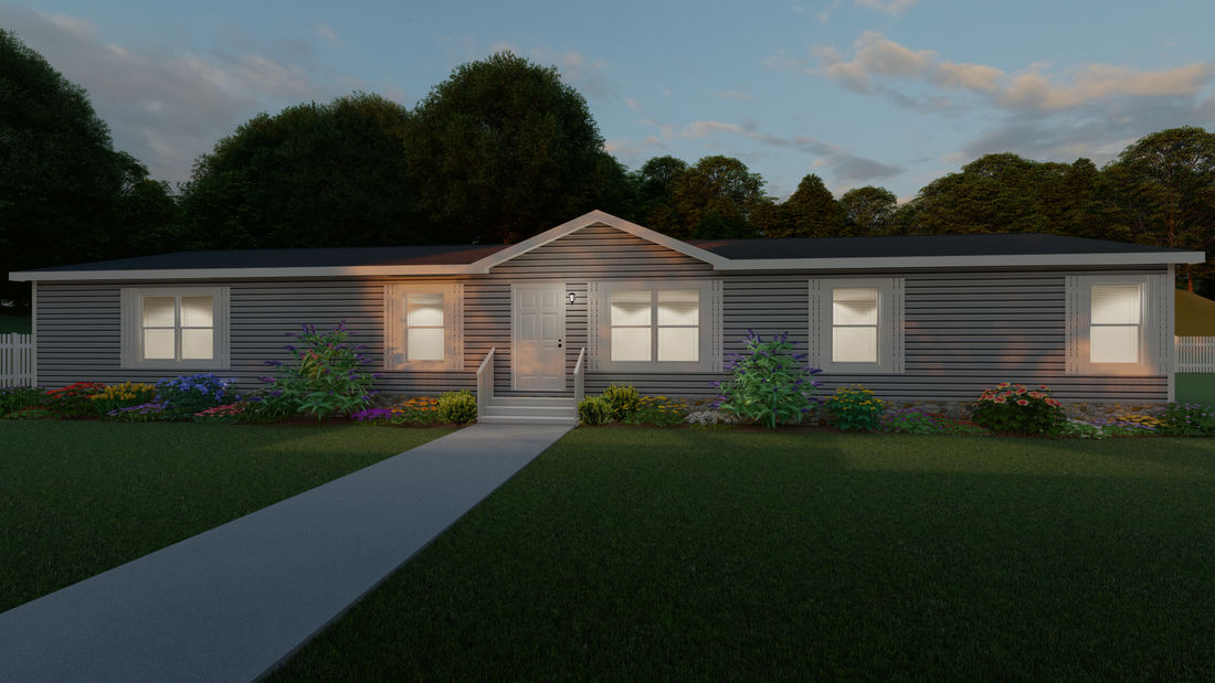 The THE COLUMBUS Exterior. This Manufactured Mobile Home features 4 bedrooms and 2 baths.