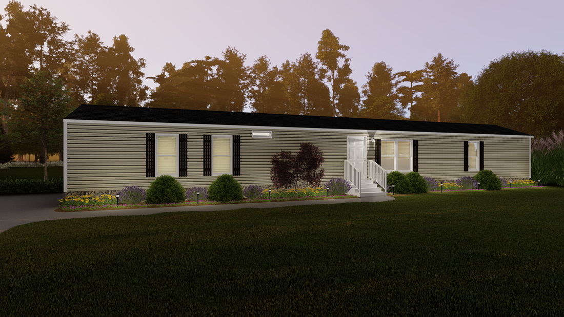 The THE BLACKSHEAR Exterior. This Manufactured Mobile Home features 3 bedrooms and 2 baths.