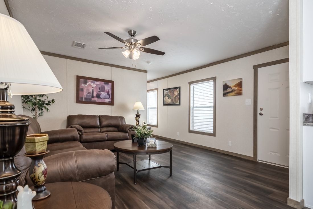 The THE ALBANY Living Room. This Manufactured Mobile Home features 3 bedrooms and 2 baths.