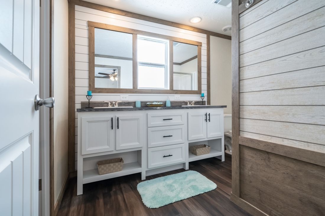 The THE ALBANY Master Bathroom. This Manufactured Mobile Home features 3 bedrooms and 2 baths.
