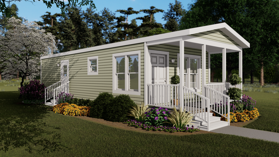 The THE MURPHY Exterior. This Manufactured Mobile Home features 1 bedroom and 1 bath.