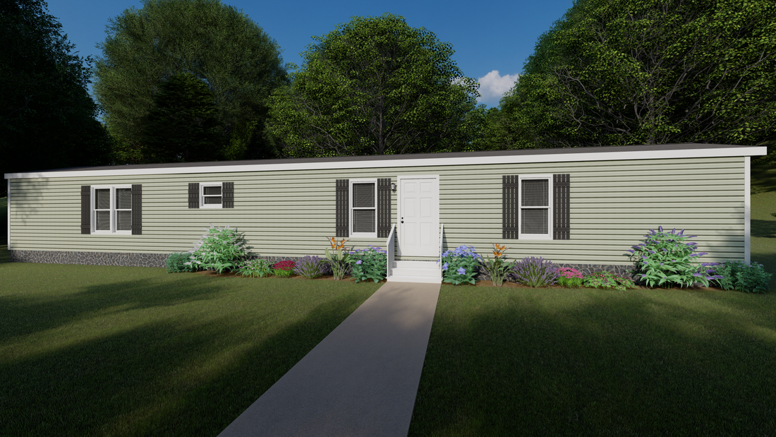 The CS1672-A Exterior. This Manufactured Mobile Home features 3 bedrooms and 2 baths.