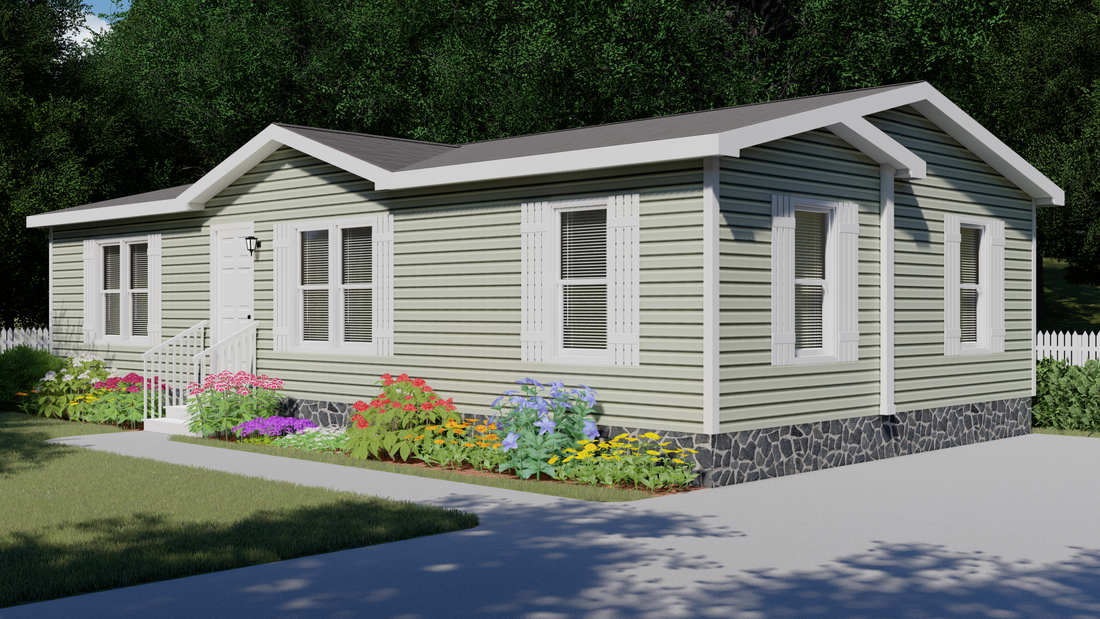 The CS2444-A Exterior. This Manufactured Mobile Home features 2 bedrooms and 2 baths.