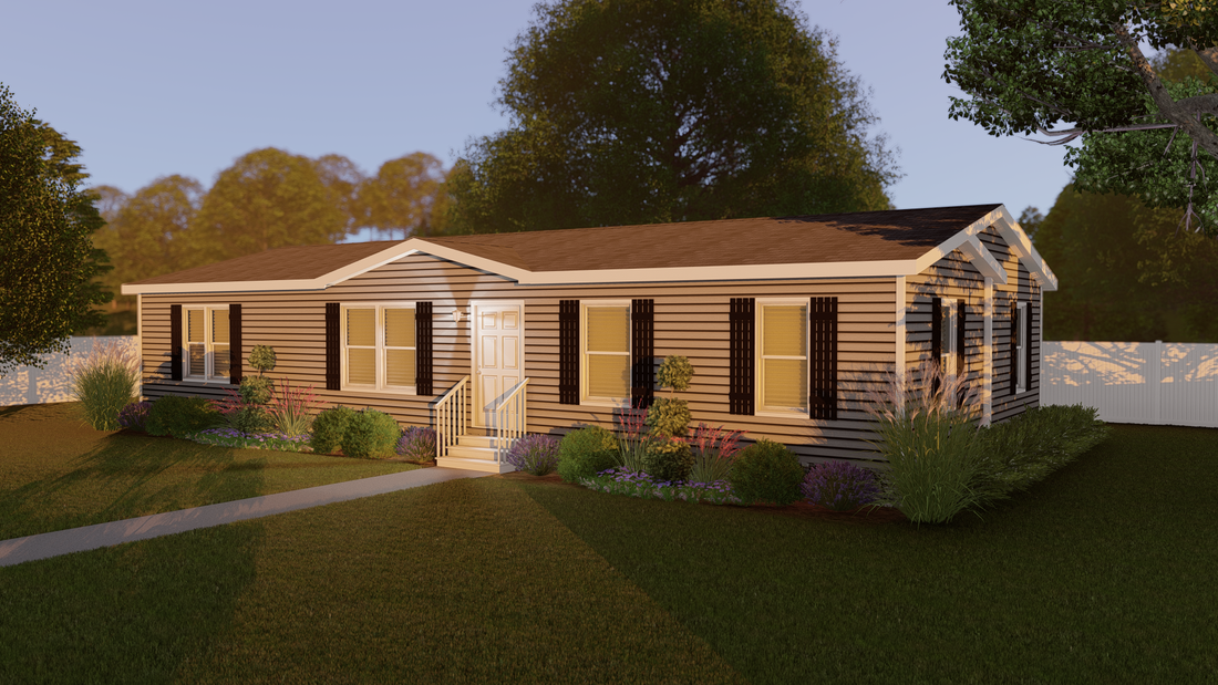 The CS1676-C Exterior. This Manufactured Mobile Home features 3 bedrooms and 2 baths.