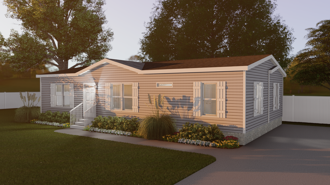The CS2848-A Exterior. This Manufactured Mobile Home features 3 bedrooms and 2 baths.