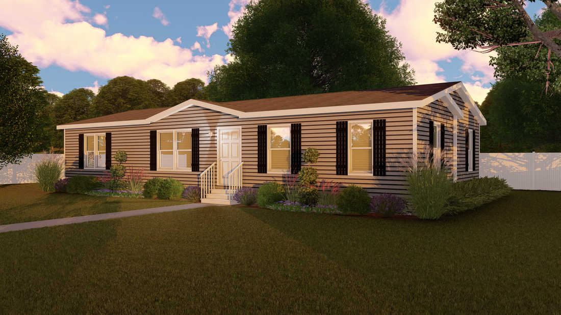 The CS2856-A Exterior. This Manufactured Mobile Home features 4 bedrooms and 2 baths.