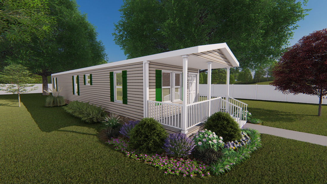 The CS1658-A Exterior. This Manufactured Mobile Home features 2 bedrooms and 2 baths.