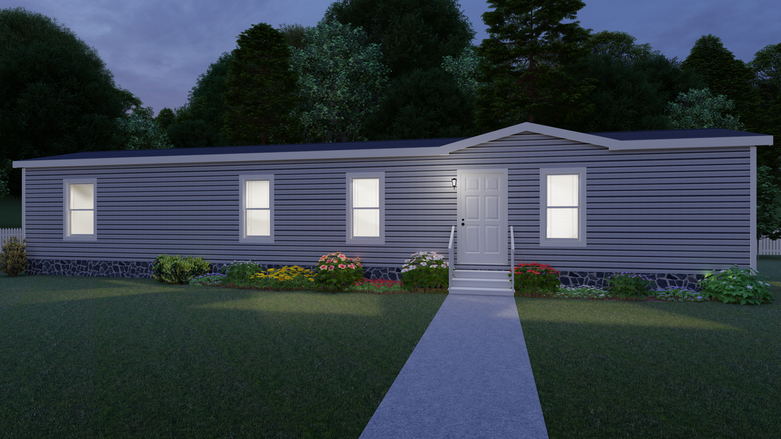 The CS1660-A Exterior. This Manufactured Mobile Home features 2 bedrooms and 2 baths.