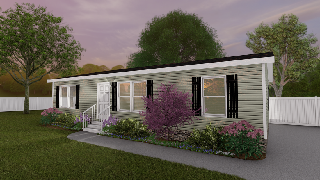 The CS 2844-A Exterior. This Manufactured Mobile Home features 3 bedrooms and 2 baths.