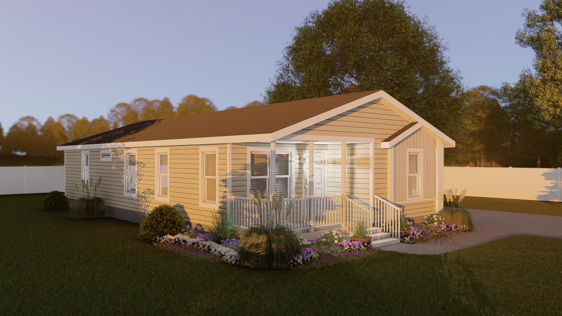 The CS2852-A Exterior. This Manufactured Mobile Home features 3 bedrooms and 2 baths.
