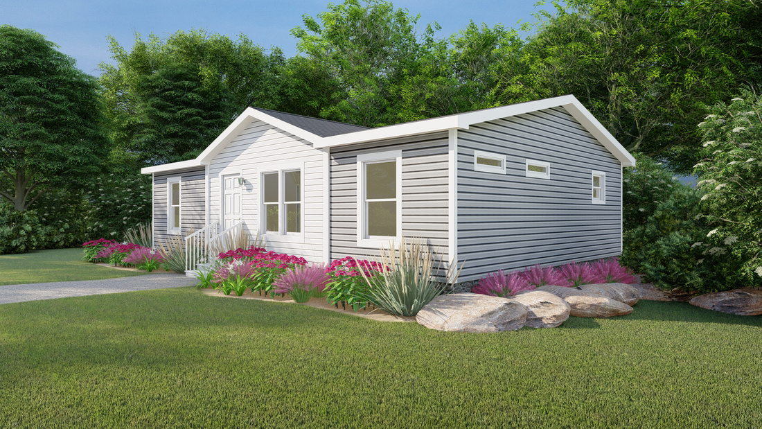 The CS2840-A Exterior (Upgrade). This Manufactured Mobile Home features 3 bedrooms and 2 baths.