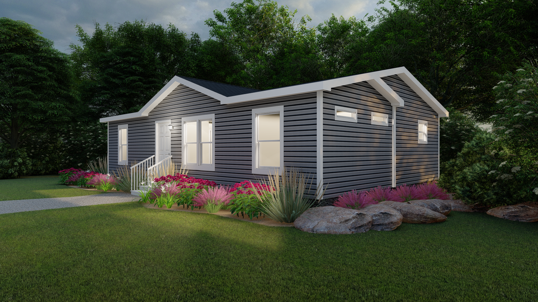 The CS2840-A Exterior (Upgrade 2). This Manufactured Mobile Home features 3 bedrooms and 2 baths.