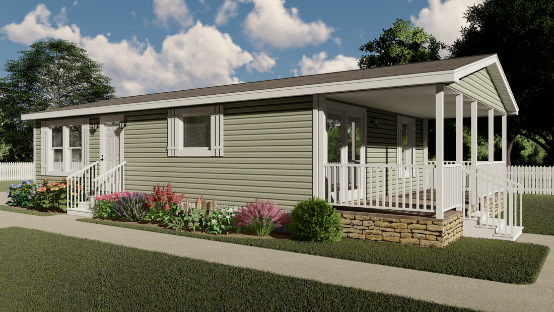 The CS2436-A Exterior. This Manufactured Mobile Home features 2 bedrooms and 2 baths.