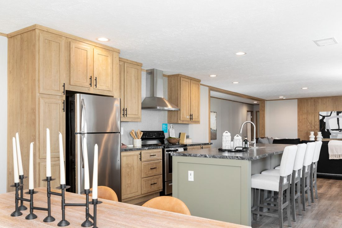 The SAFARI Kitchen. This Manufactured Mobile Home features 3 bedrooms and 2 baths.
