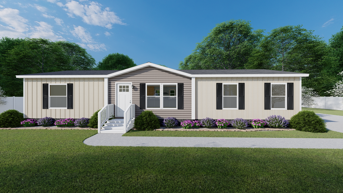 The EXPLORER Exterior. This Manufactured Mobile Home features 3 bedrooms and 2 baths.