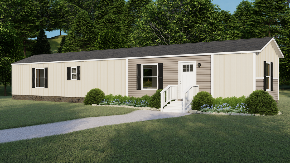 The TIDE Exterior. This Manufactured Mobile Home features 2 bedrooms and 2 baths.