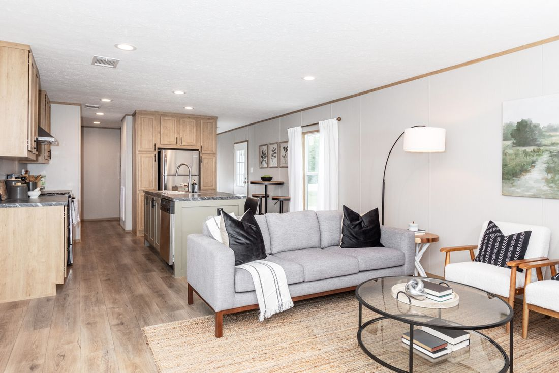 The TIDE Living Room. This Manufactured Mobile Home features 2 bedrooms and 2 baths.