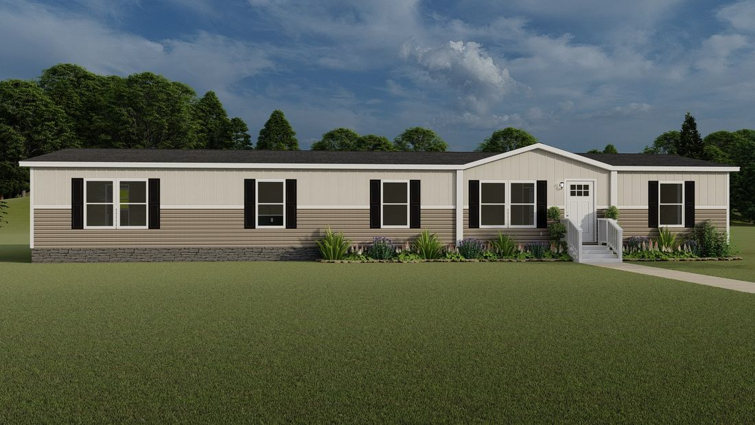 The SUMMIT Southern Ranch Exterior - Clay vinyl siding with Mist Board & Batt vinyl. This Manufactured Mobile Home features 4 bedrooms and 3 baths.