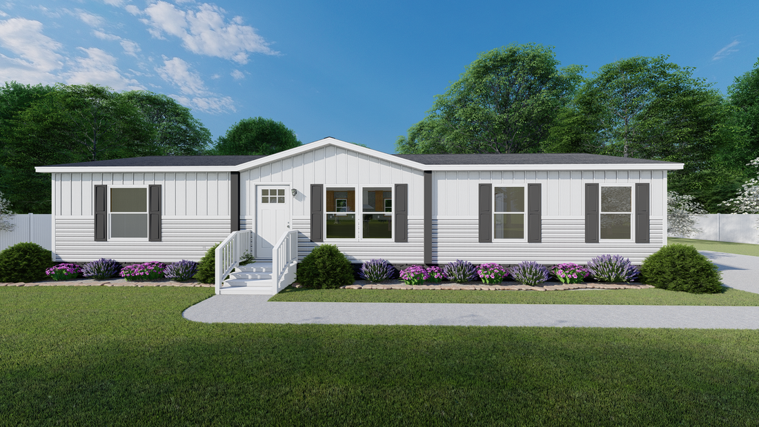The BOONE  White Southern Ranch 28X56 Exterior. This Manufactured Mobile Home features 4 bedrooms and 2 baths.
