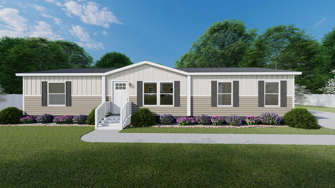 The BOONE  Clay & Mist Southern Ranch 28X56 Exterior. This Manufactured Mobile Home features 4 bedrooms and 2 baths.