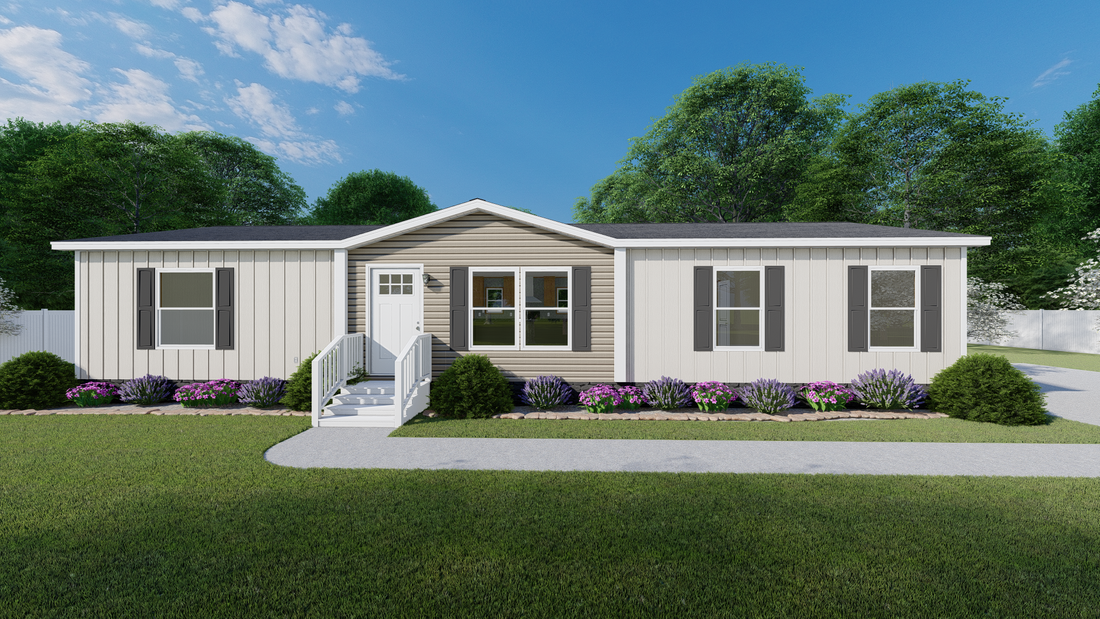 The BOONE  Clay & Mist Colonial 28X56 Exterior. This Manufactured Mobile Home features 4 bedrooms and 2 baths.