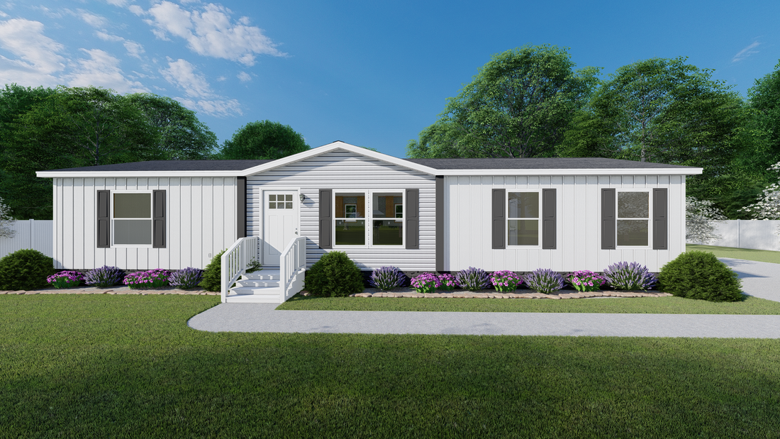 The BOONE  White Colonial 28X56 Exterior. This Manufactured Mobile Home features 4 bedrooms and 2 baths.